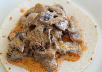 Taco de champiñones al chipotle
